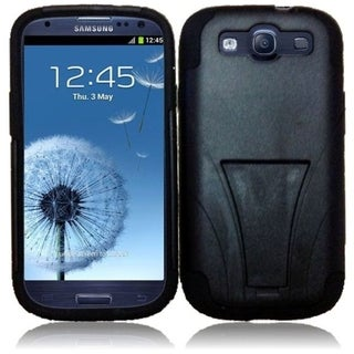 BasAcc Black T-Stand Dual Layer Hybrid Stand PC Silicone Phone Case Cover For Samsung Galaxy S3/ S III GT-i9300