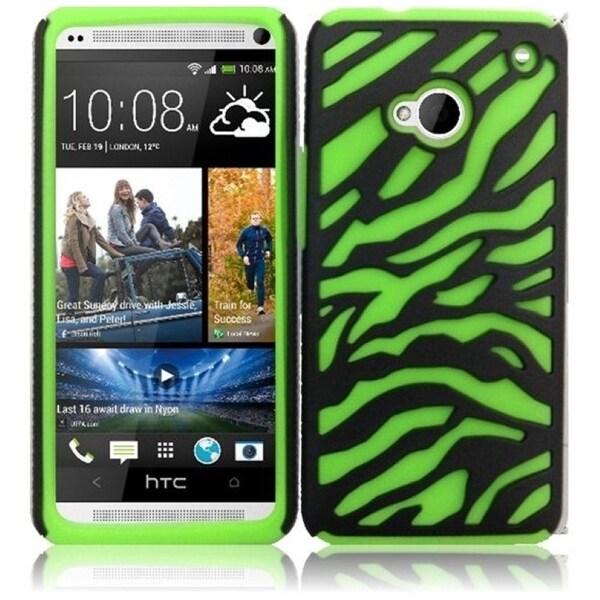 INSTEN Black/ Neon Green Zebra Soft Silicone Phone Case Cover for HTC One M7