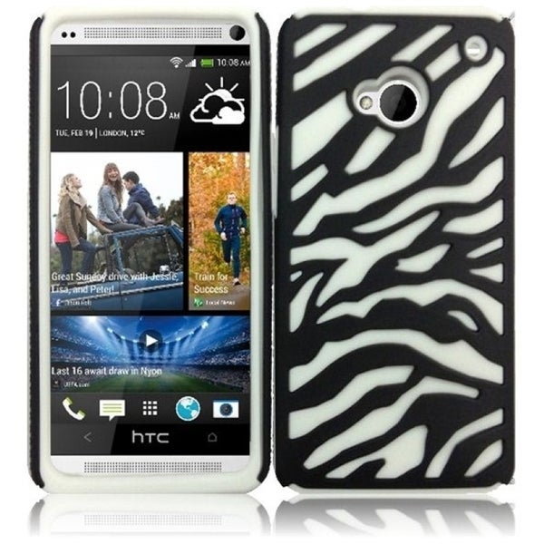 INSTEN Black/ White Zebra Soft Silicone Phone Case Cover for HTC One M7