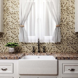SomerTile 11.75x11.75-inch View Mini Crest Glass and Stone Mosaic Wall Tile (Case of 16)