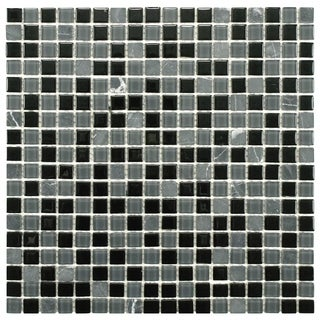 SomerTile 11.75x11.75 View Mini Citadel Glass and Stone Mosaic Tile (Pack of 16)