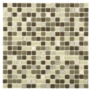 SomerTile 11.75x11.75 View Mini Aegis Glass and Stone Mosaic Tile (Pack of 16)