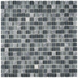 SomerTile 11.75x11.75 View Mini Fortress Glass and Stone Mosaic Tile (Pack of 16)