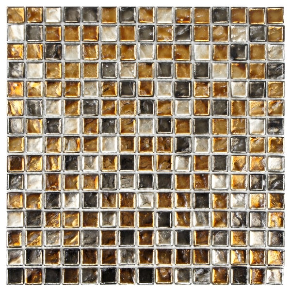 SomerTile Illuminia 12x12 Square Radium Glass Mosaic Wall Tile (Pack of 10)
