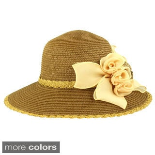 Faddism Stylish Women Summer Straw Hat with Removable Floral Ornament