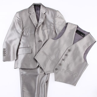 Ferrecci Kids Shiny Grey Three Piece Two-Button Tuxedo