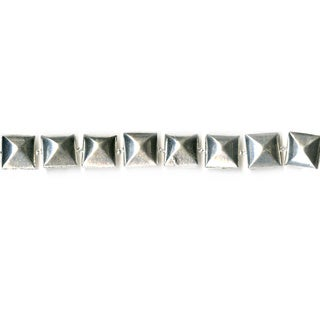 DCWV Bead Strand Metal Square Raised Silver Bead Set
