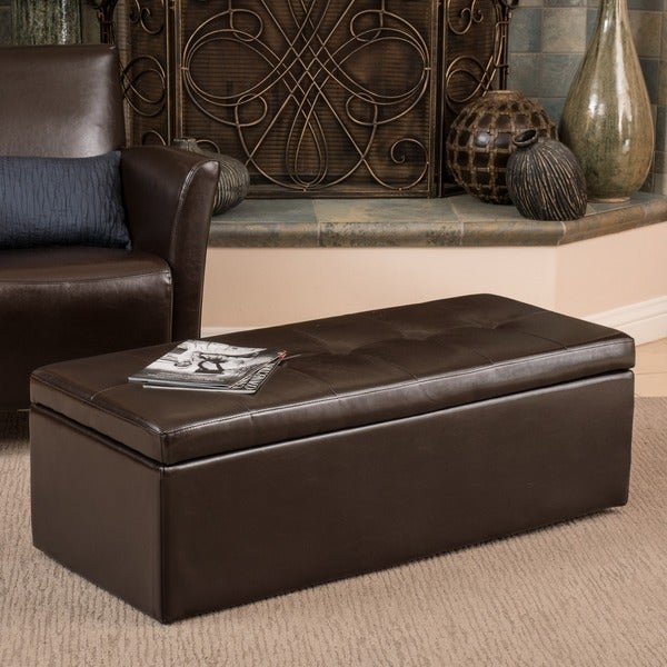 Christopher Knight Home Abigail Chocolate Bonded Leather Storage Ottoman Bench