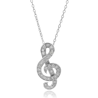 Journee Collection Sterling Silver Cubic Zirconia Treble Clef Necklace