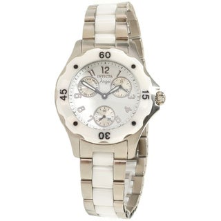 Invicta Women's Slightly Blemished 'Angel' Ceramic Silvertone Watch