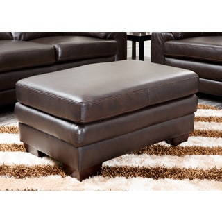 ABBYSON LIVING Charleston Premium Top-grain Brown Italian Leather Ottoman