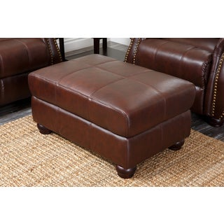Ashley Premium Top-grain Burgundy Italian Leather Ottoman