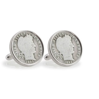 American Coin Treasures 1800s Silver Barber Dime Sterling Silver Cuff Links