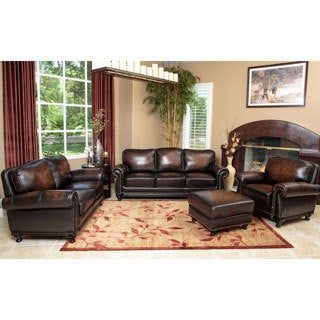 Palermo Hand Rubbed Brown Leather Sofa, Loveseat, Armchair, and Ottoman (Set of 4)