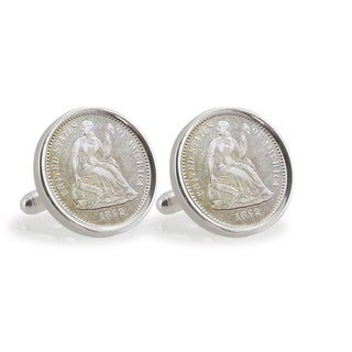 American Coin Treasures Civil War Seated Liberty Silver Dime Sterling Silver Cuff Links