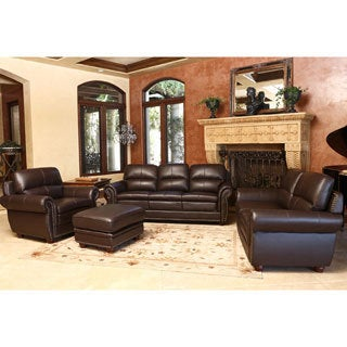 Laguna 4-piece Top Grain Leather Sofa, Loveseat, Armchair and Ottoman
