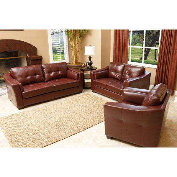 Abbyson living torrance premium top grain leather 3 piece for 8 piece living room furniture set