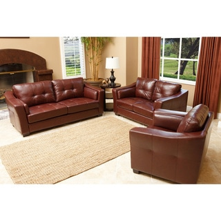 Abbyson Living Torrance Premium Top-grain Leather 3-piece Living Room Furniture Set