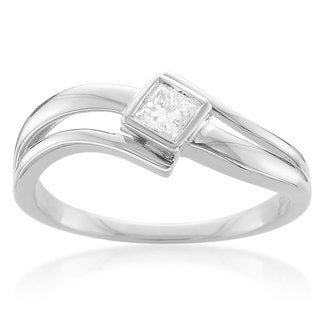 14k White Gold 1/5ct TDW Bezel-set Princess Cut Solitaire Diamond Ring (H-I, I2-I3)