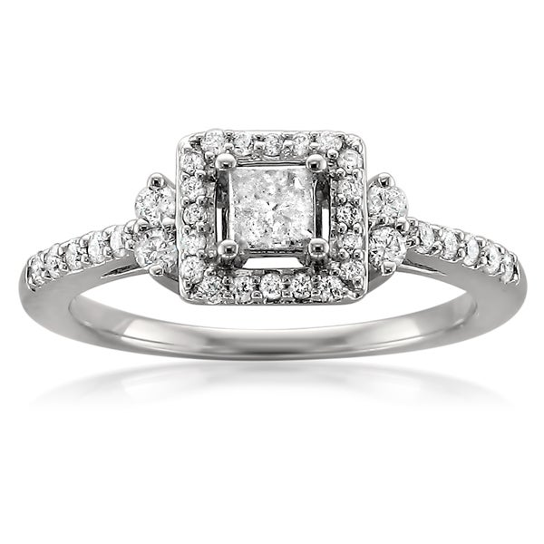 Montebello 14k White Gold 1/2ct TDW Princess Halo Diamond Engagement Ring (H-I, I2-I3)