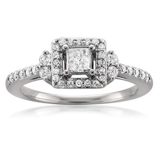 14k White Gold 1/2ct TDW Princess Halo Diamond Engagement Ring (H-I, I2-I3)