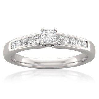14k White Gold 1/2ct TDW Princess Cut Diamond Ring (H-I, I2-I3)