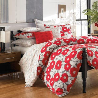 Red Poppy Cotton Percale 3-piece Duvet Cover Set with Optional Euro Sham