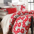 Red Poppy Cotton Percale Duvet Cover Set with Optional Euro Sham