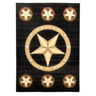Skinz Design Texas Star Black Area Rug (5 'x 7')