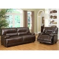 Abbyson Living Brownstone Hand Rubbed Leather Reclining Sofa and Chair