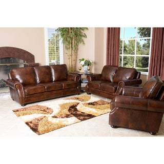 Abbyson Living Kensington 3 Piece Hand Rubbed Leather Sofa, Loveseat and Armchair