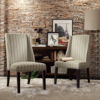 Inspire Q Regency Colby Striped Fabric Nailhead Wingback Hostess Chairs (Set of 2)
