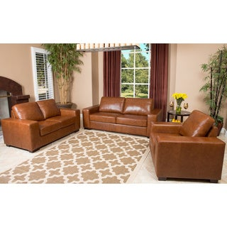 Abbyson Living Broadway 3 Piece Leather Sofa, Loveseat, and Armchair
