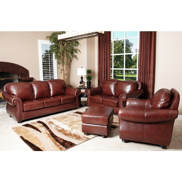 abbyson living houston leather sofa loveseat armchair and ottoman 4