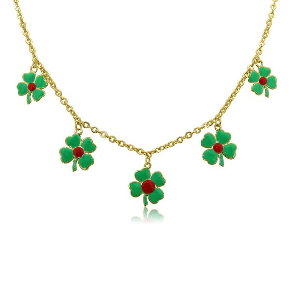 Junior Jewels Children's Enamel 4 Leaf Clover Necklace