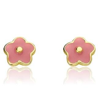 Little Miss Twin Stars 14k Goldplated Children's Twin Stars Frosted Flowers Earrings