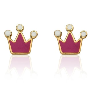 Little Miss Twin Stars Children's 14k Gold Plated Rocking Royalty Princess Crown Earrings