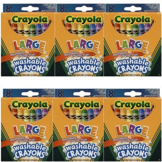 Crayola Large Washable Box of 8 Crayons Assorted Colors (Pack of 6)