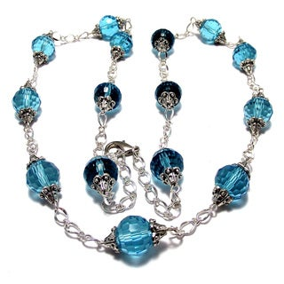 30-inch Dark Aqua Blue Crystal Wedding Jewelry Set