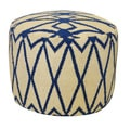 Navy and Off-white Gate Round Pouf Ottoman