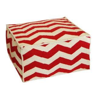 Red and White Peak Square Ottoman