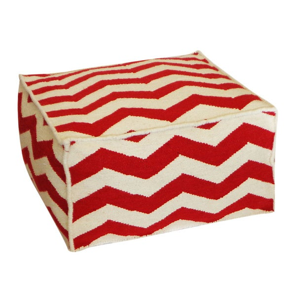 Handmade Jiti Red and White Peak Square Ottoman Pouf (USA) 12112847