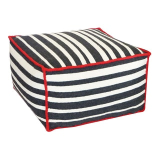 Black and White Roads Pouf Ottoman