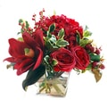 Holiday Mixed Centerpiece in Flared Glass Vase