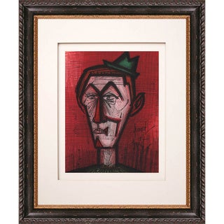 'The Clown on a Red Backround' Original Lithograph Framed Art