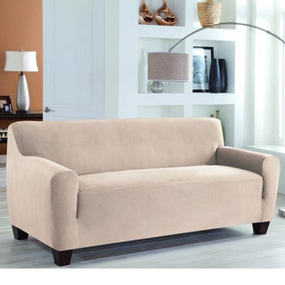 Restonic Stretch Fit Slipcover One Piece Sofa