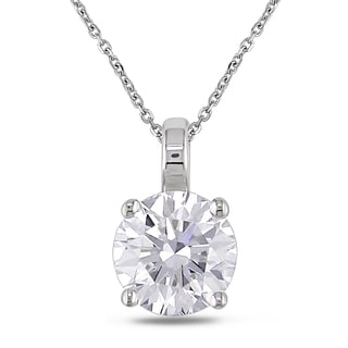 Miadora 14k White Gold 1ct TDW Diamond Solitaire Necklace (H-I, SI1-SI2)