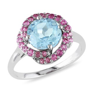 Miadora Sterling Silver Sky Blue Topaz and Pink Tourmaline Halo Ring