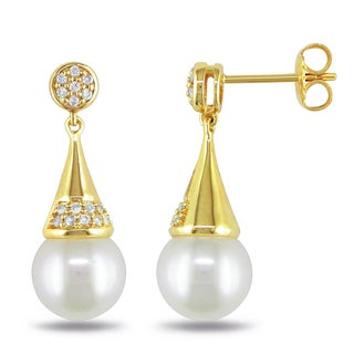 Miadora Yellow Plated Silver Pearl and 1/5ct TDW Diamond Earrings (H-I, I2-I3)