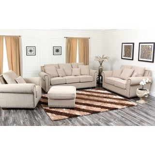 Abbyson Living Santa Barbara 4 Piece Fabric Sofa, Loveseat, Armchair, and Ottoman